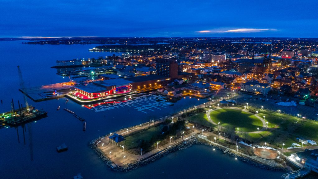 Charlottetown at Night Drone Picture